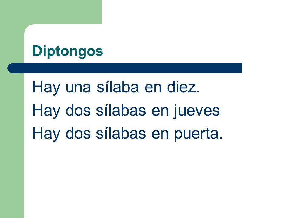 Diptongos (Remember to count syllables by using vowels or diphthongs.) Ex: diez juevespuerta (¿Cuántas sílabas hay en estas palabras?)