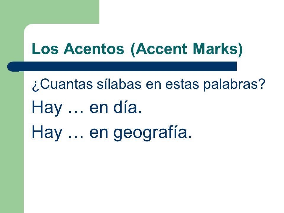 Los Acentos (Accent Marks) ¿Cuantas sílabas en estas palabras? Hay … en día. Hay … en geografía.