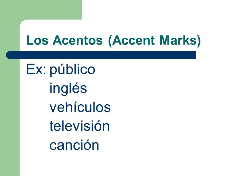 Los Acentos (Accent Marks) Cuándo (when) pronuncie una palabra y la palabra no sigue (follow) las reglas, debe poner un acento.