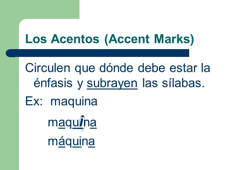 Los Acentos (Accent Marks) ¿Cuantas sílabas en estas palabras.