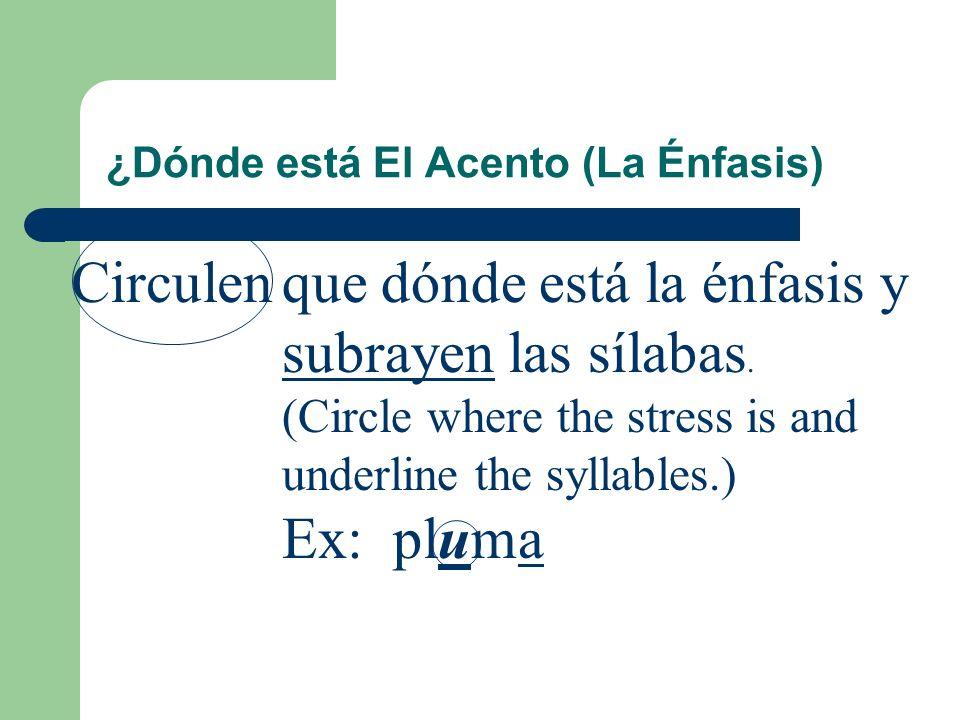 El Acento (La Énfasis) 2. Si una palabra no termina enn, s, ni una vocal, la énfasis está en la última sílaba. Ex: españolactrizmujer (¿Cuantas sílaba