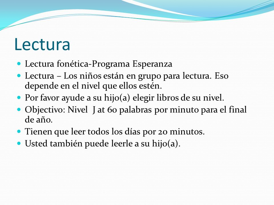 Lectura Lectura fonética-Programa Esperanza Lectura – Los niños están en grupo para lectura. Eso depende en el nivel que ellos estén. Por favor ayude