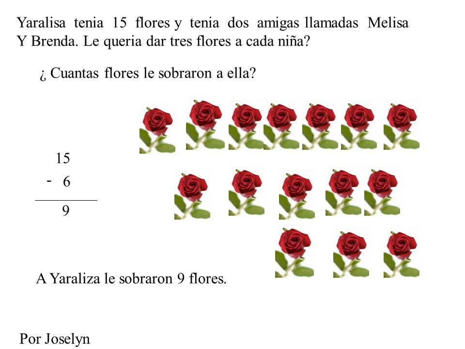 Yaralisa tenia 15 flores y tenia dos amigas llamadas Melisa Y Brenda. Le queria dar tres flores a cada niña? ¿ Cuantas flores le sobraron a ella? 15 6
