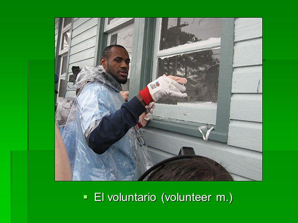 El voluntario (volunteer m.) El voluntario (volunteer m.)