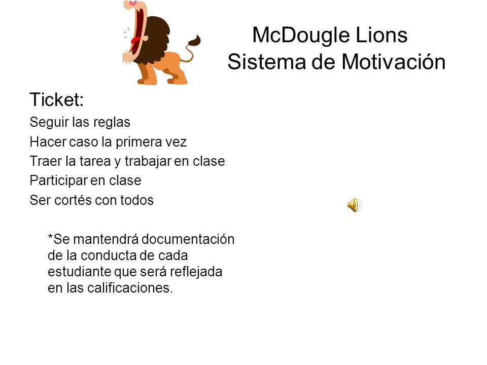 McDougle Lions Nuestras Reglas Ser: Corteces Positivos Productivos Respetuosos Responsables Consistente con el resto de la escuela