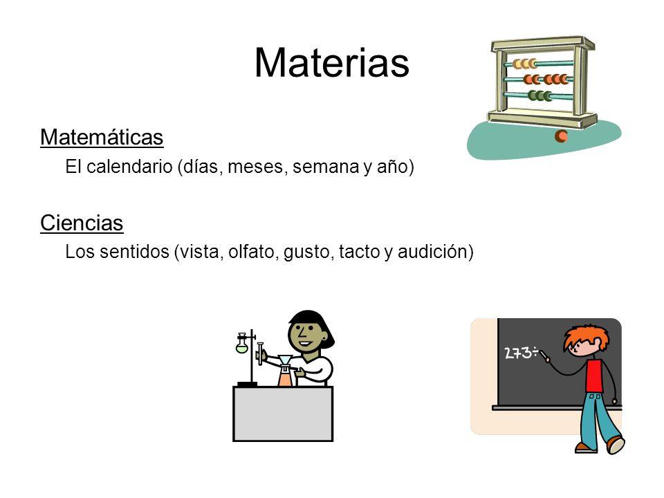Materias Lenguaje Lectura y comprensión Nombre y sonido del abecedario Escritura de las letras Estudios Sociales Reglas en nuestra escuela Profesiones