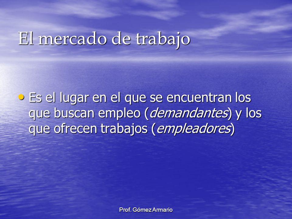 Prof. Gómez Armario El mercado de trabajo Es el lugar en el que se encuentran los que buscan empleo (demandantes) y los que ofrecen trabajos (empleado
