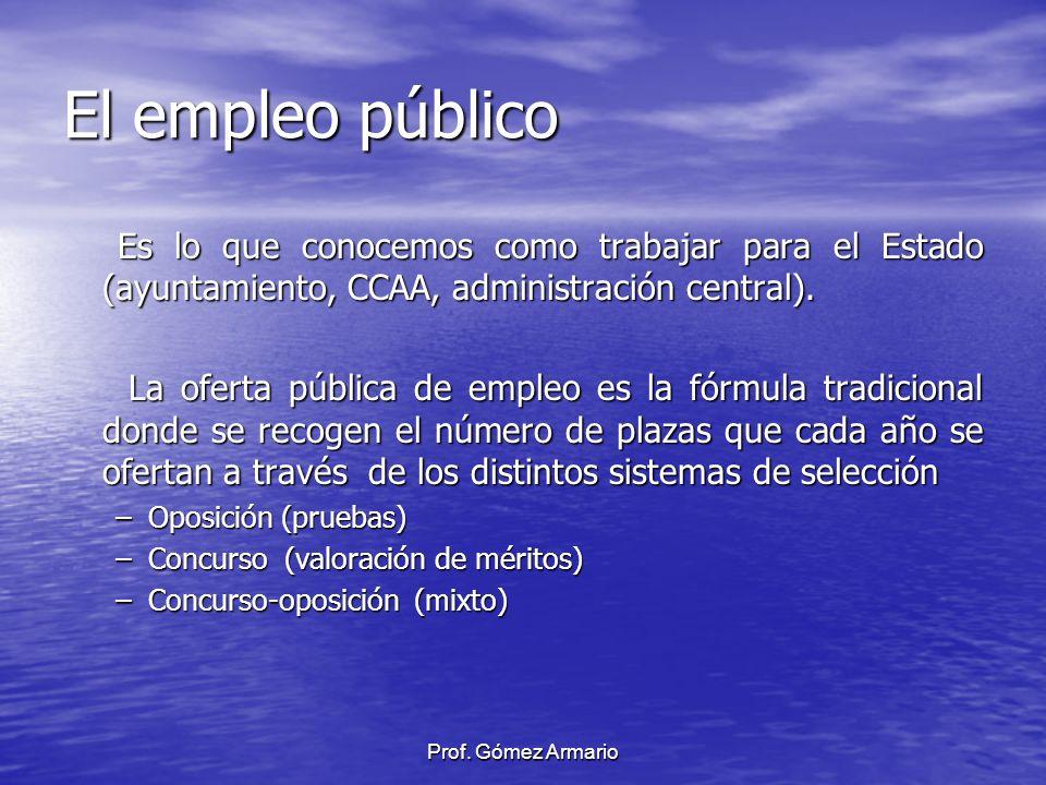 El empleo público Es lo que conocemos como trabajar para el Estado (ayuntamiento, CCAA, administración central). Es lo que conocemos como trabajar par