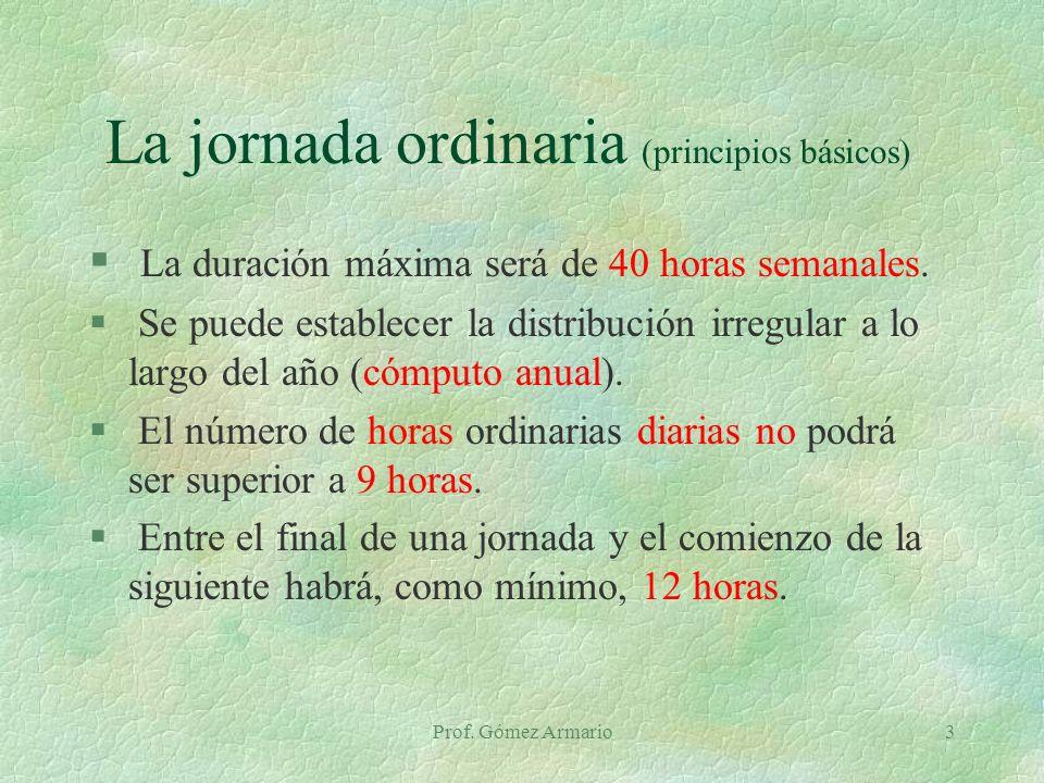 Prof. Gómez Armario3 La jornada ordinaria (principios básicos) § La duración máxima será de 40 horas semanales. § Se puede establecer la distribución