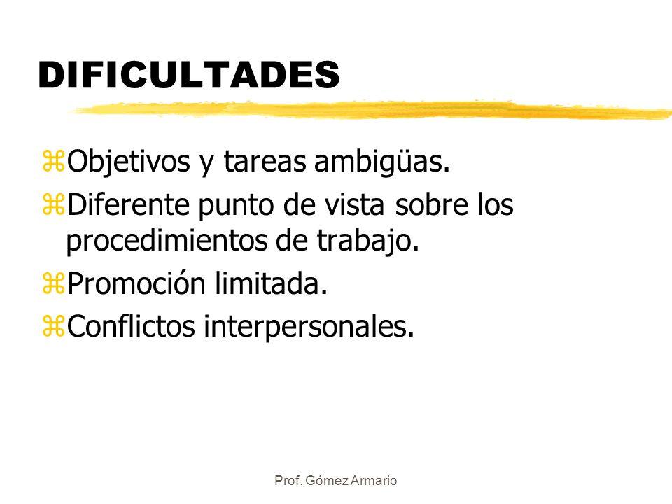 Prof. Gómez Armario DIFICULTADES zObjetivos y tareas ambigüas. zDiferente punto de vista sobre los procedimientos de trabajo. zPromoción limitada. zCo