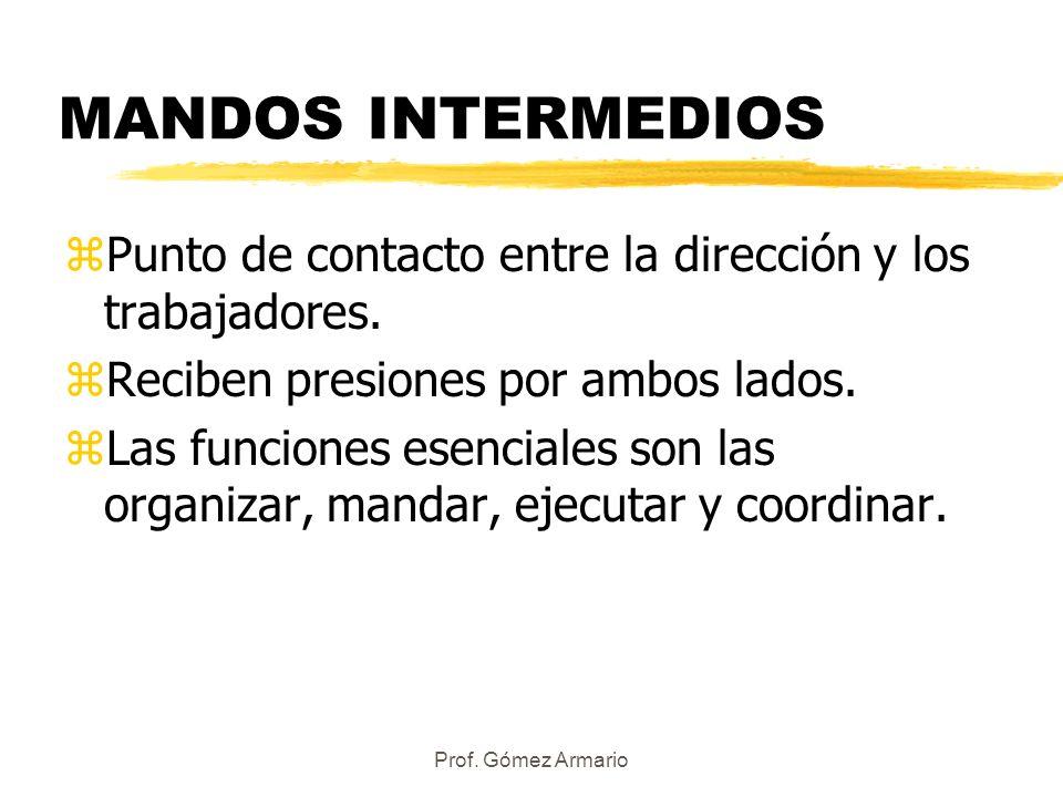 Prof. Gómez Armario MANDOS INTERMEDIOS zPunto de contacto entre la dirección y los trabajadores. zReciben presiones por ambos lados. zLas funciones es
