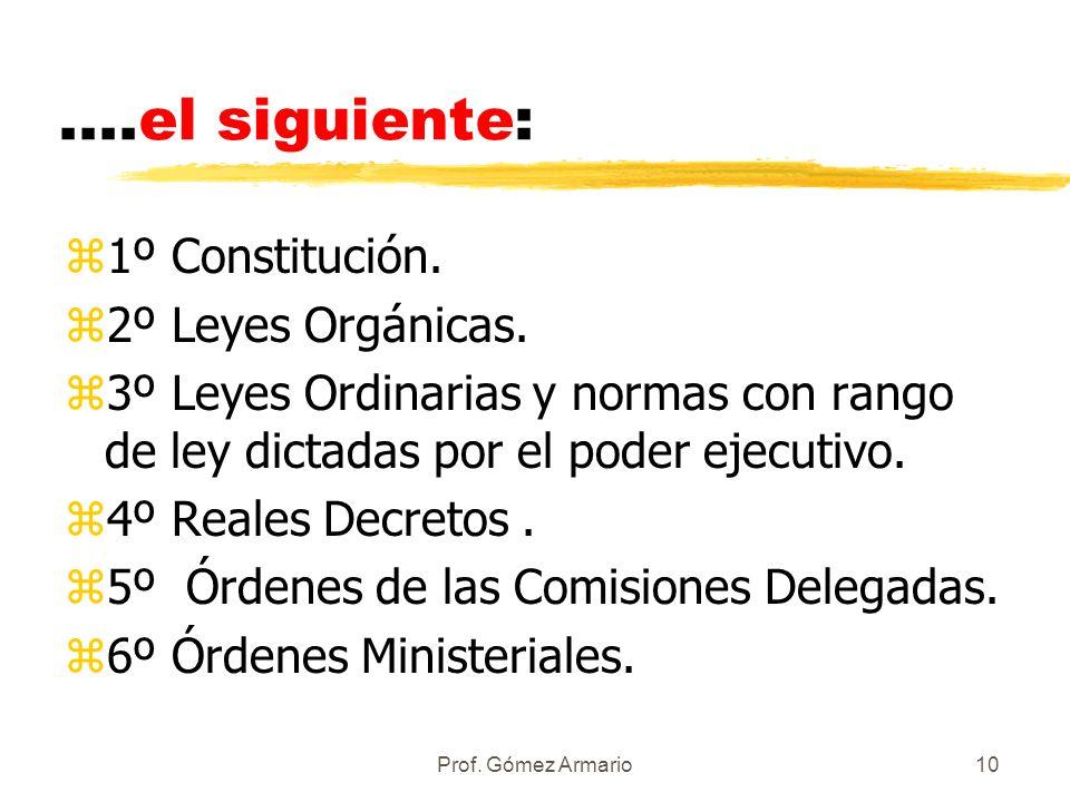Prof. Gómez Armario9 PRINCIPIO DE JERARQUÍA z Todas estas normas escritas están sometidas al principio de jerarquía, esto es, las normas de rango infe