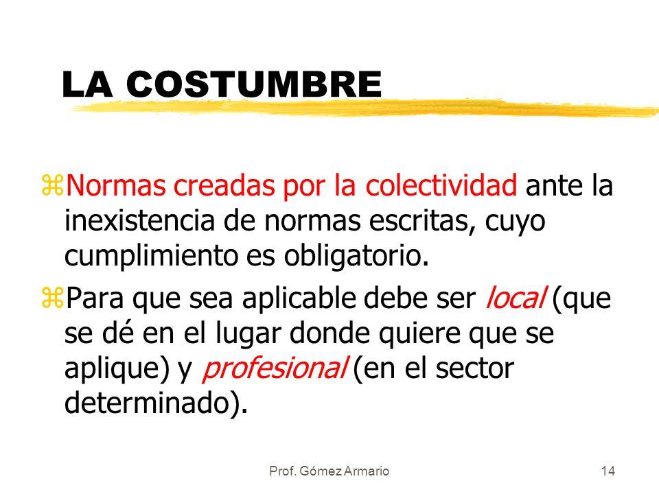 Prof. Gómez Armario13 ¿Cómo se aplican las normas laborales? (Principios) zPrincipio de norma mínima. zPrincipio pro operario zPrincipio de norma más