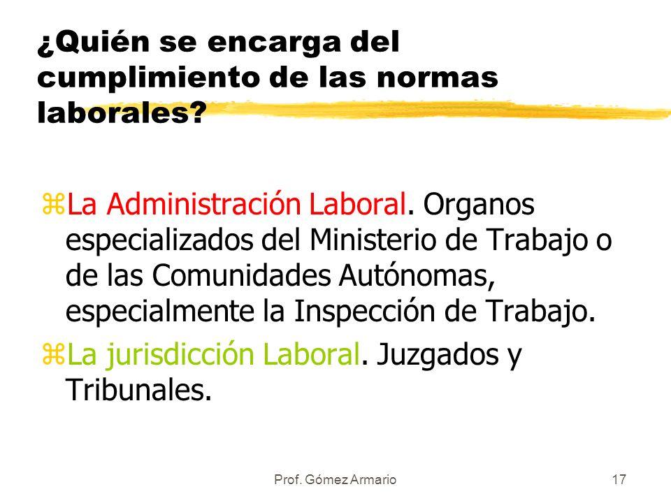 Prof. Gómez Armario16 ALGUNAS OBSERVACIONES: zLas leyes han de ser publicadas en el Boletín oficial correspondiente (BOE, BOJA, DOCE) zEntrarán en vig