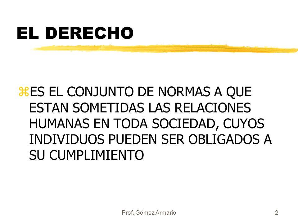 Prof. Gómez Armario1 LAS FUENTES DEL DERECHO