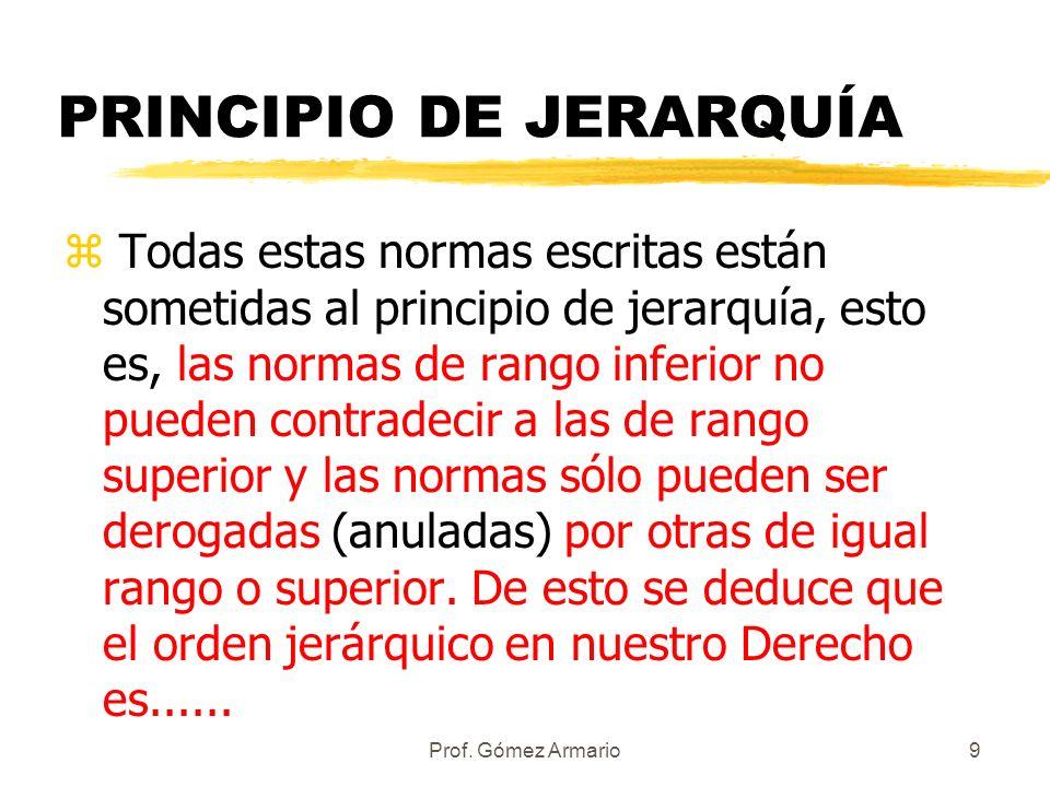 Prof. Gómez Armario8 y los Reglamentos Son las normas propias del poder ejecutivo (Gobierno) y pueden ser: zReales Decretos zÓrdenes de las Comisiones