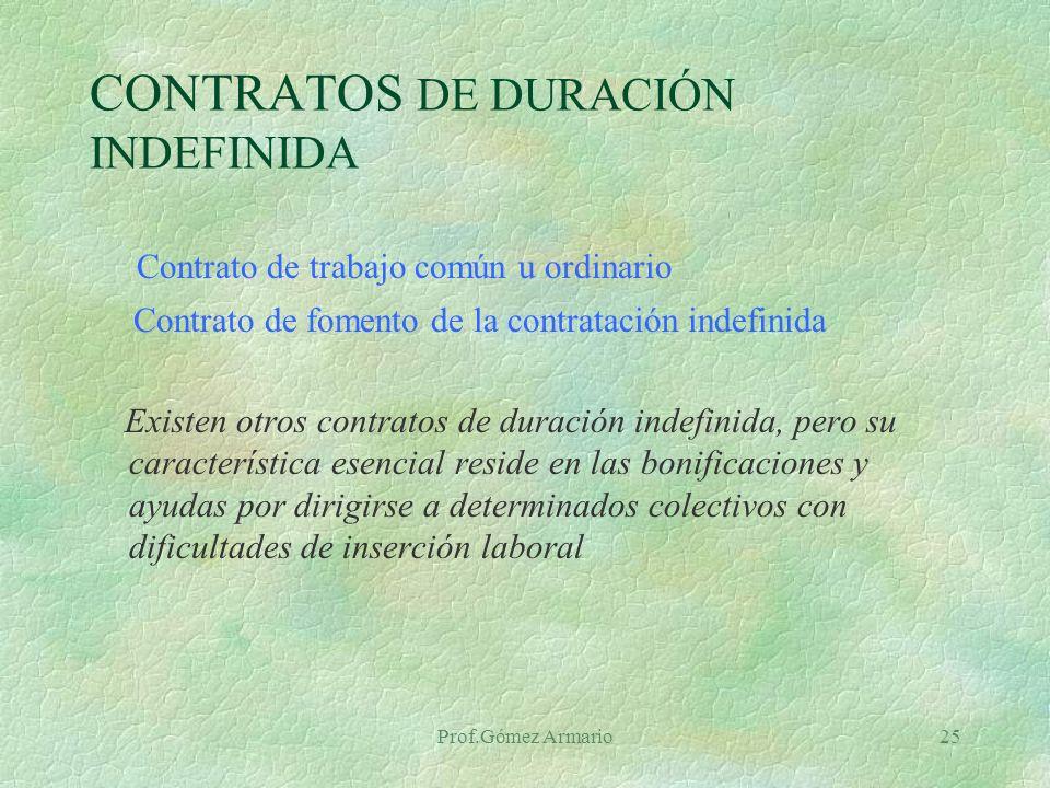 Prof.Gómez Armario24 Contrato de inserción § Este contrato se podrá concertar entre una Administración pública o entidad sin ánimo de lucro con un trabajador desempleado, teniendo por objeto la realización de una obra o servicio de interés general o social como medio de adquisición de experiencia laboral y mejora de la ocupabilidad del desempleado.