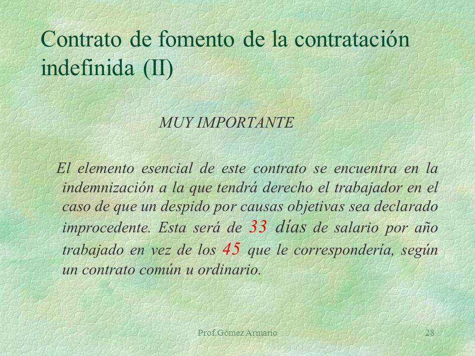Prof.Gómez Armario27 Contrato de fomento de la contratación indefinida Concepto.