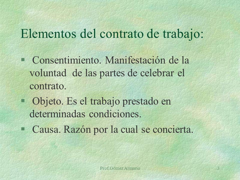 Prof.Gómez Armario3 Elementos del contrato de trabajo: § Consentimiento.