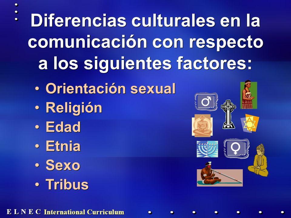 E E N N E E C C L L International Curriculum Diferencias culturales en la comunicación con respecto a los siguientes factores: Orientación sexual Religión Edad Etnia Sexo Tribus Orientación sexual Religión Edad Etnia Sexo Tribus