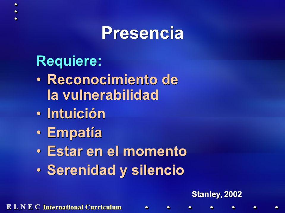 E E N N E E C C L L Presencia Requiere: Reconocimiento de la vulnerabilidad Intuición Empatía Estar en el momento Serenidad y silencio Stanley, 2002 Requiere: Reconocimiento de la vulnerabilidad Intuición Empatía Estar en el momento Serenidad y silencio Stanley, 2002