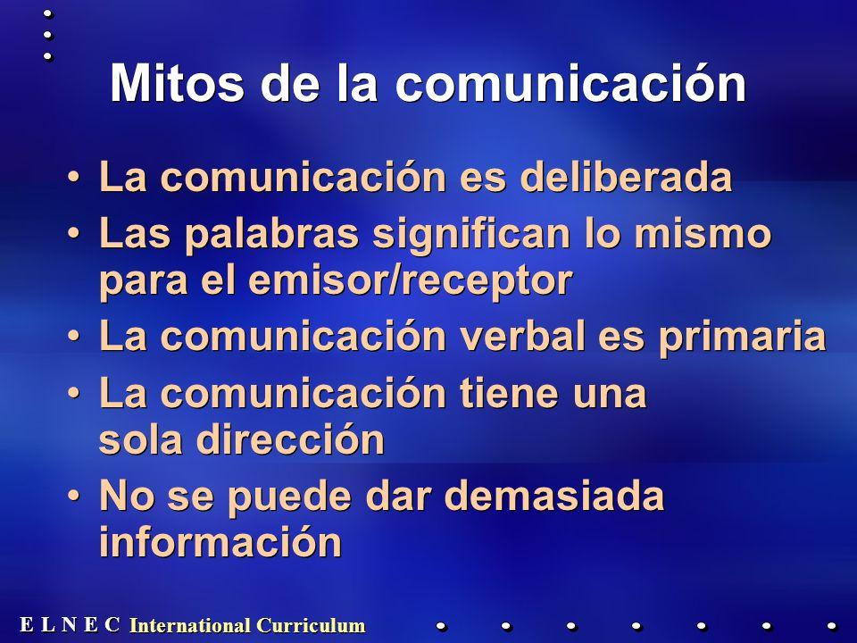 E E N N E E C C L L International Curriculum Pautas para alentar la conversación Crear el ambiente adecuado ¿El paciente/la familia desea hablar.