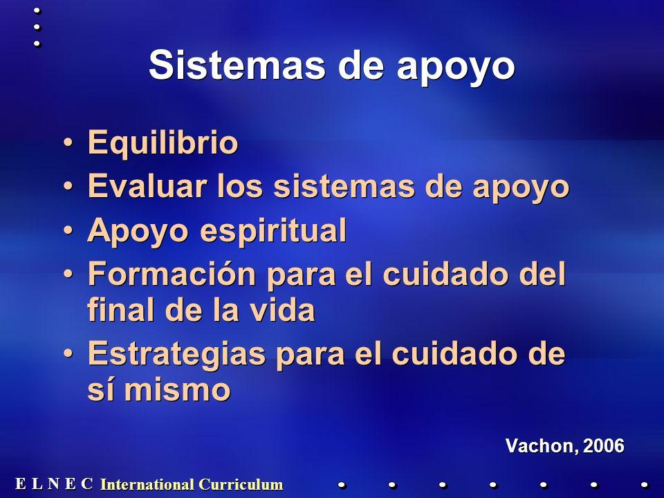 E E N N E E C C L L International Curriculum Sistemas de apoyo Equilibrio Evaluar los sistemas de apoyo Apoyo espiritual Formación para el cuidado del