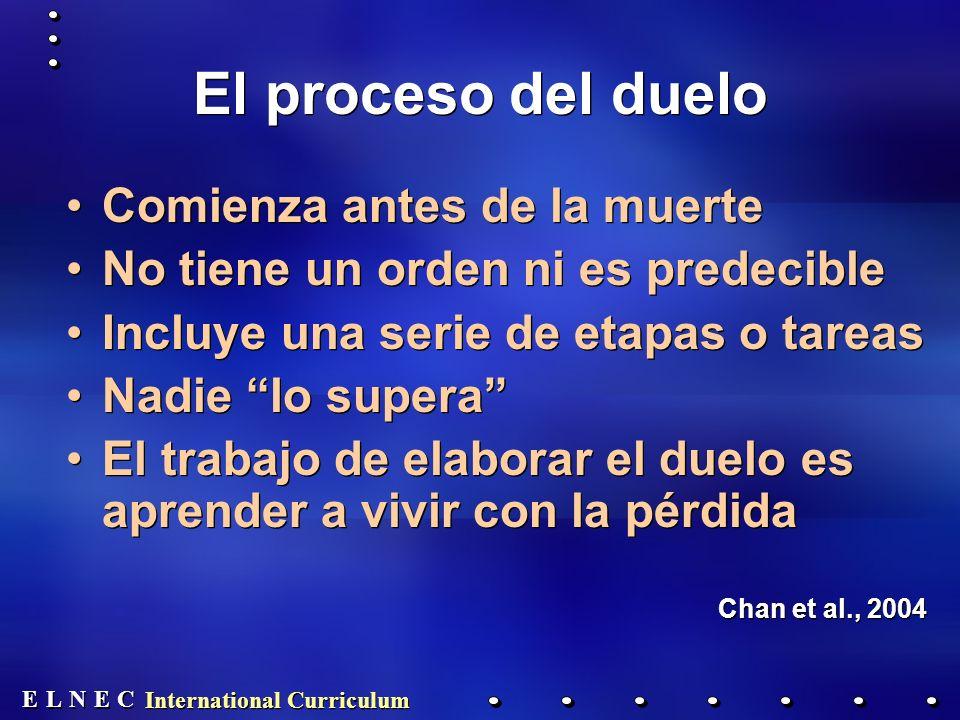 E E N N E E C C L L International Curriculum El proceso del duelo Comienza antes de la muerte No tiene un orden ni es predecible Incluye una serie de