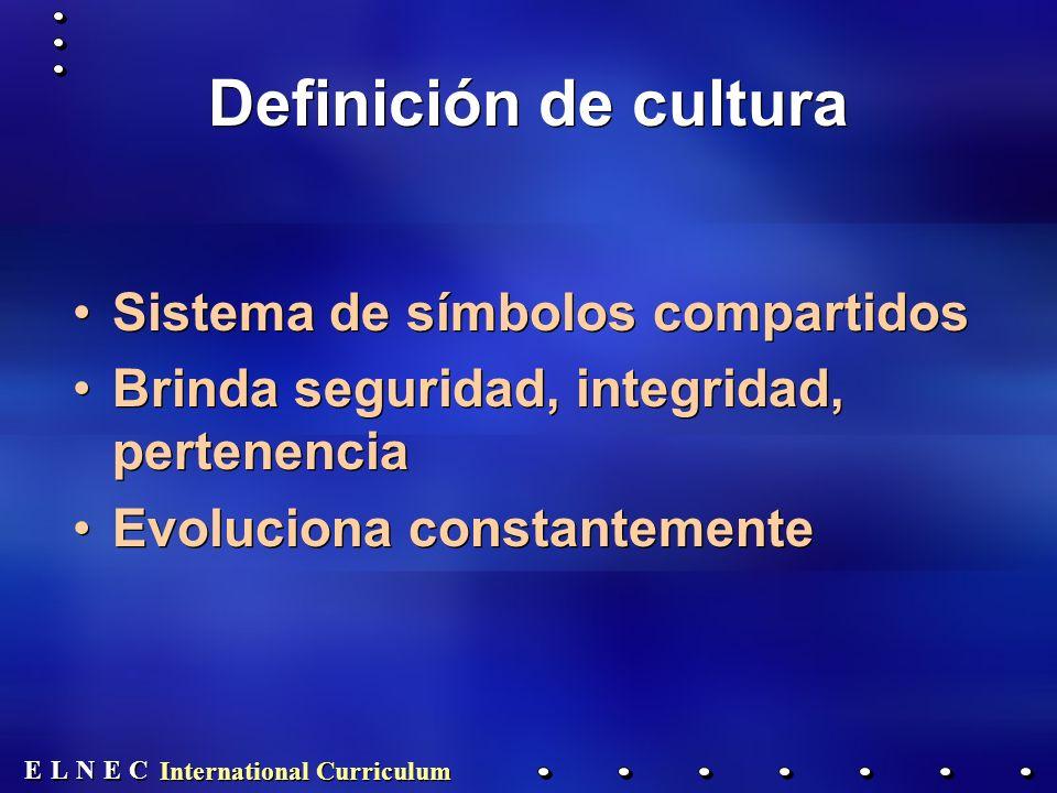E E N N E E C C L L International Curriculum Definición de cultura Sistema de símbolos compartidos Brinda seguridad, integridad, pertenencia Evoluciona constantemente Sistema de símbolos compartidos Brinda seguridad, integridad, pertenencia Evoluciona constantemente