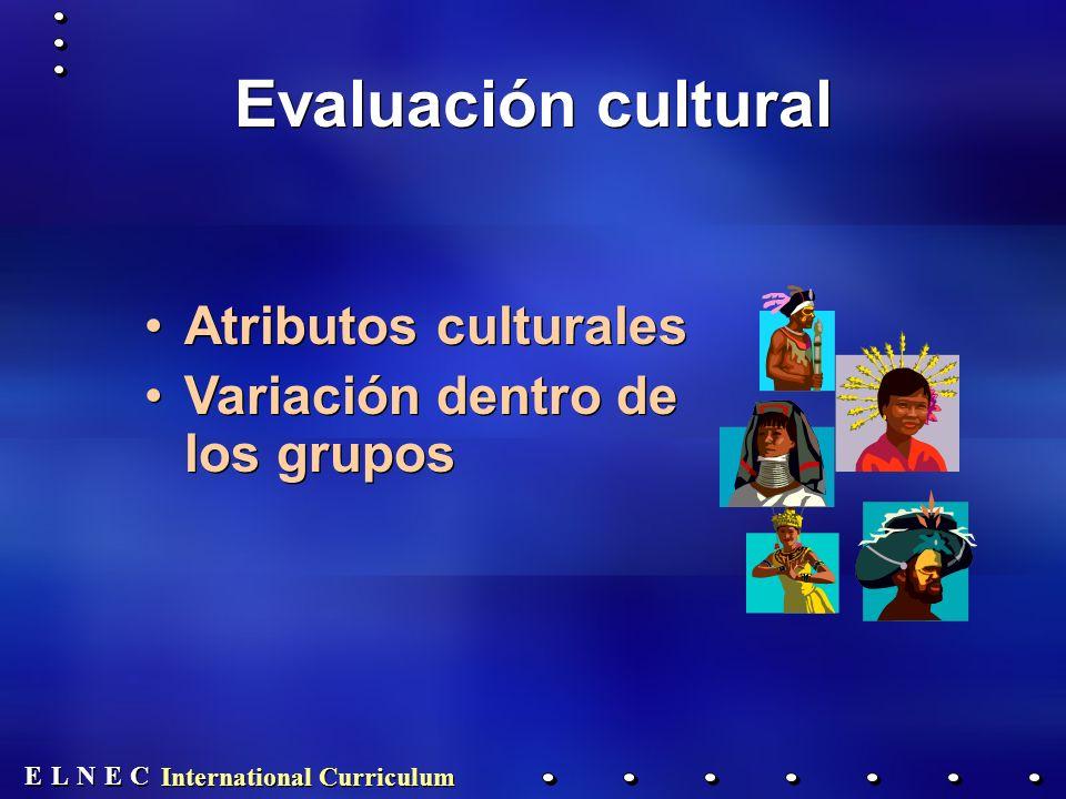 E E N N E E C C L L International Curriculum Evaluación cultural Atributos culturales Variación dentro de los grupos Atributos culturales Variación dentro de los grupos