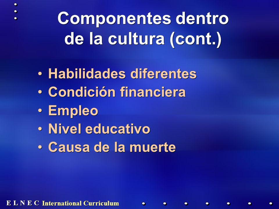 E E N N E E C C L L International Curriculum Habilidades diferentes Condición financiera Empleo Nivel educativo Causa de la muerte Habilidades diferentes Condición financiera Empleo Nivel educativo Causa de la muerte Componentes dentro de la cultura (cont.)