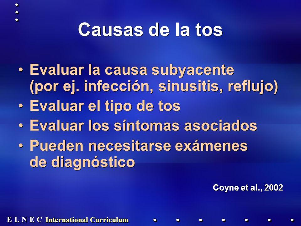 E E N N E E C C L L International Curriculum Causas de la tos Evaluar la causa subyacente (por ej.