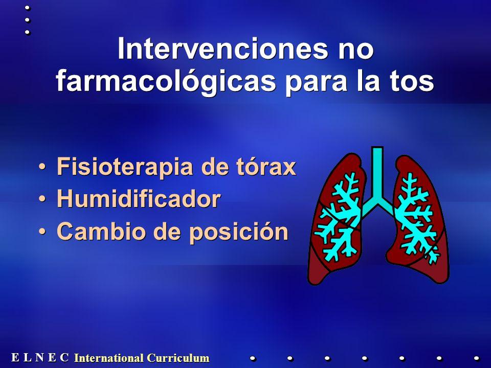 E E N N E E C C L L International Curriculum Intervenciones no farmacológicas para la tos Fisioterapia de tórax Humidificador Cambio de posición Fisioterapia de tórax Humidificador Cambio de posición