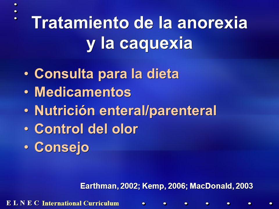 E E N N E E C C L L International Curriculum Tratamiento de la anorexia y la caquexia Consulta para la dieta Medicamentos Nutrición enteral/parenteral Control del olor Consejo Earthman, 2002; Kemp, 2006; MacDonald, 2003 Consulta para la dieta Medicamentos Nutrición enteral/parenteral Control del olor Consejo Earthman, 2002; Kemp, 2006; MacDonald, 2003