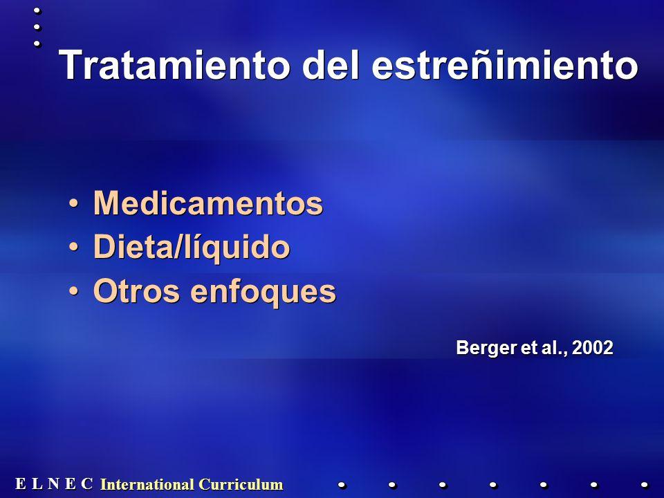 E E N N E E C C L L International Curriculum Tratamiento del estreñimiento Medicamentos Dieta/líquido Otros enfoques Berger et al., 2002 Medicamentos Dieta/líquido Otros enfoques Berger et al., 2002