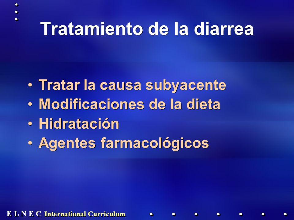 E E N N E E C C L L International Curriculum Tratamiento de la diarrea Tratar la causa subyacente Modificaciones de la dieta Hidratación Agentes farmacológicos Tratar la causa subyacente Modificaciones de la dieta Hidratación Agentes farmacológicos