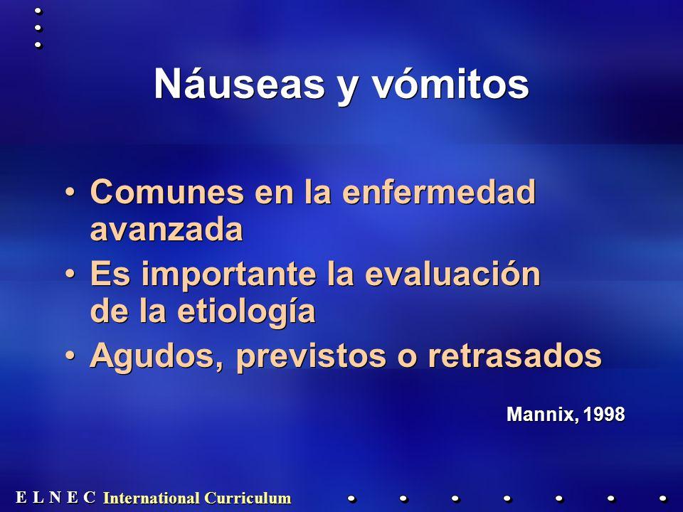 E E N N E E C C L L International Curriculum Náuseas y vómitos Comunes en la enfermedad avanzada Es importante la evaluación de la etiología Agudos, previstos o retrasados Mannix, 1998 Comunes en la enfermedad avanzada Es importante la evaluación de la etiología Agudos, previstos o retrasados Mannix, 1998