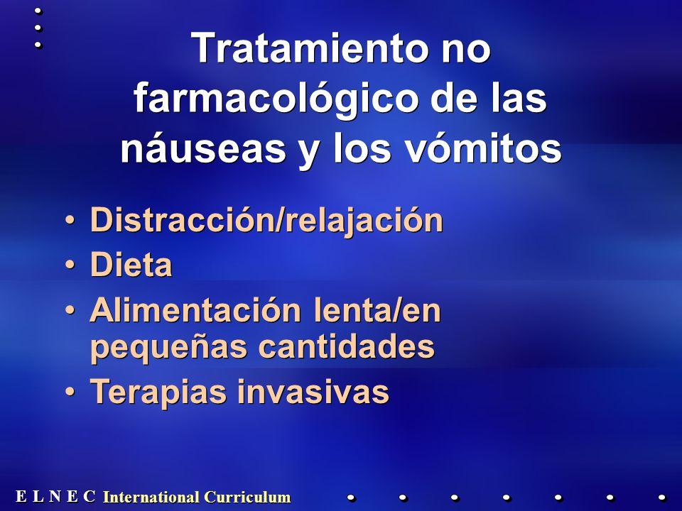 E E N N E E C C L L International Curriculum Tratamiento no farmacológico de las náuseas y los vómitos Distracción/relajación Dieta Alimentación lenta/en pequeñas cantidades Terapias invasivas Distracción/relajación Dieta Alimentación lenta/en pequeñas cantidades Terapias invasivas