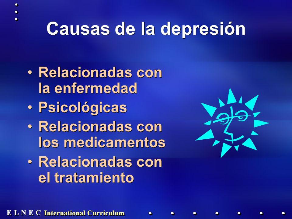 E E N N E E C C L L International Curriculum Causas de la depresión Relacionadas con la enfermedad Psicológicas Relacionadas con los medicamentos Relacionadas con el tratamiento Relacionadas con la enfermedad Psicológicas Relacionadas con los medicamentos Relacionadas con el tratamiento