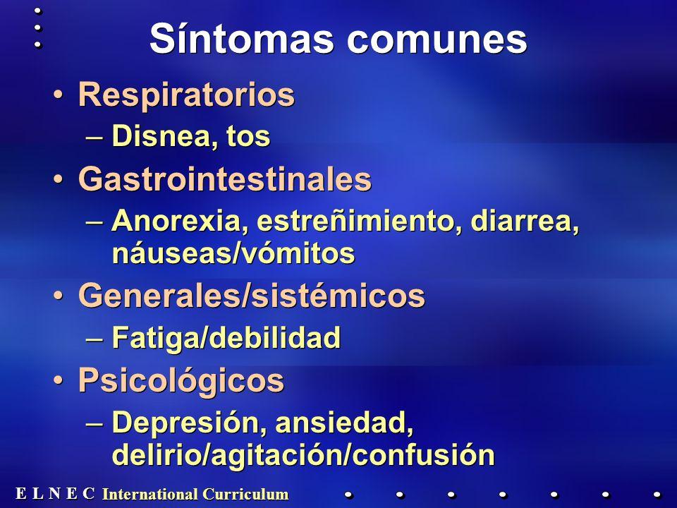 E E N N E E C C L L International Curriculum Síntomas comunes Respiratorios –Disnea, tos Gastrointestinales –Anorexia, estreñimiento, diarrea, náuseas/vómitos Generales/sistémicos –Fatiga/debilidad Psicológicos –Depresión, ansiedad, delirio/agitación/confusión Respiratorios –Disnea, tos Gastrointestinales –Anorexia, estreñimiento, diarrea, náuseas/vómitos Generales/sistémicos –Fatiga/debilidad Psicológicos –Depresión, ansiedad, delirio/agitación/confusión