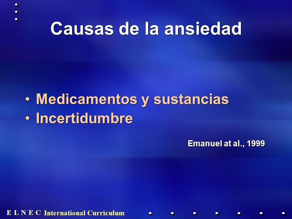 E E N N E E C C L L International Curriculum Causas de la ansiedad Medicamentos y sustancias Incertidumbre Emanuel at al., 1999 Medicamentos y sustancias Incertidumbre Emanuel at al., 1999
