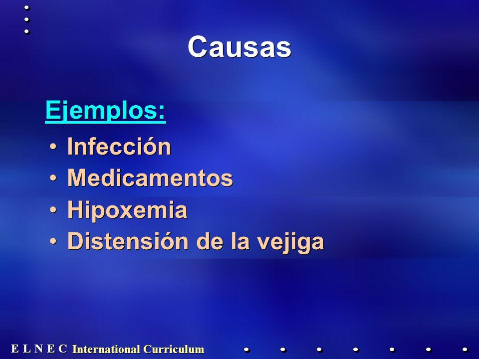 E E N N E E C C L L International Curriculum Causas Infección Medicamentos Hipoxemia Distensión de la vejiga Infección Medicamentos Hipoxemia Distensión de la vejiga Ejemplos: