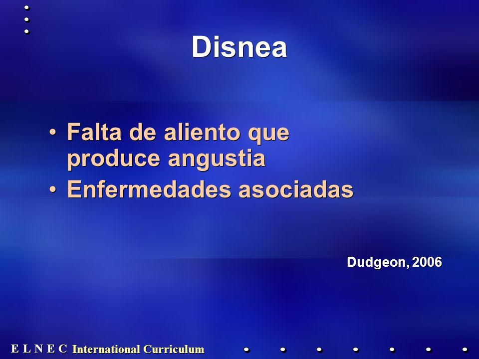 E E N N E E C C L L International Curriculum Disnea Falta de aliento que produce angustia Enfermedades asociadas Dudgeon, 2006 Falta de aliento que produce angustia Enfermedades asociadas Dudgeon, 2006