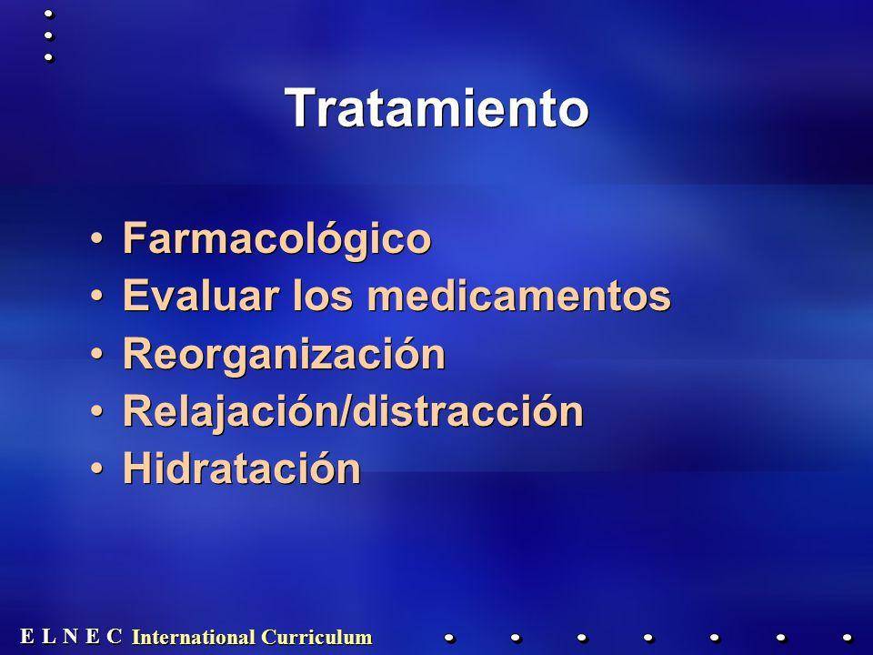 E E N N E E C C L L International Curriculum Tratamiento Farmacológico Evaluar los medicamentos Reorganización Relajación/distracción Hidratación Farmacológico Evaluar los medicamentos Reorganización Relajación/distracción Hidratación
