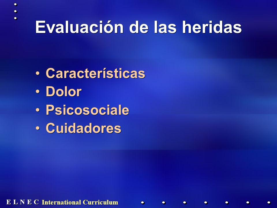 E E N N E E C C L L International Curriculum Evaluación de las heridas Características Dolor Psicosociale Cuidadores Características Dolor Psicosociale Cuidadores