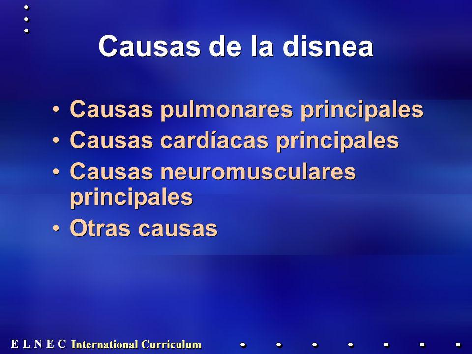 E E N N E E C C L L International Curriculum Causas de la disnea Causas pulmonares principales Causas cardíacas principales Causas neuromusculares principales Otras causas Causas pulmonares principales Causas cardíacas principales Causas neuromusculares principales Otras causas
