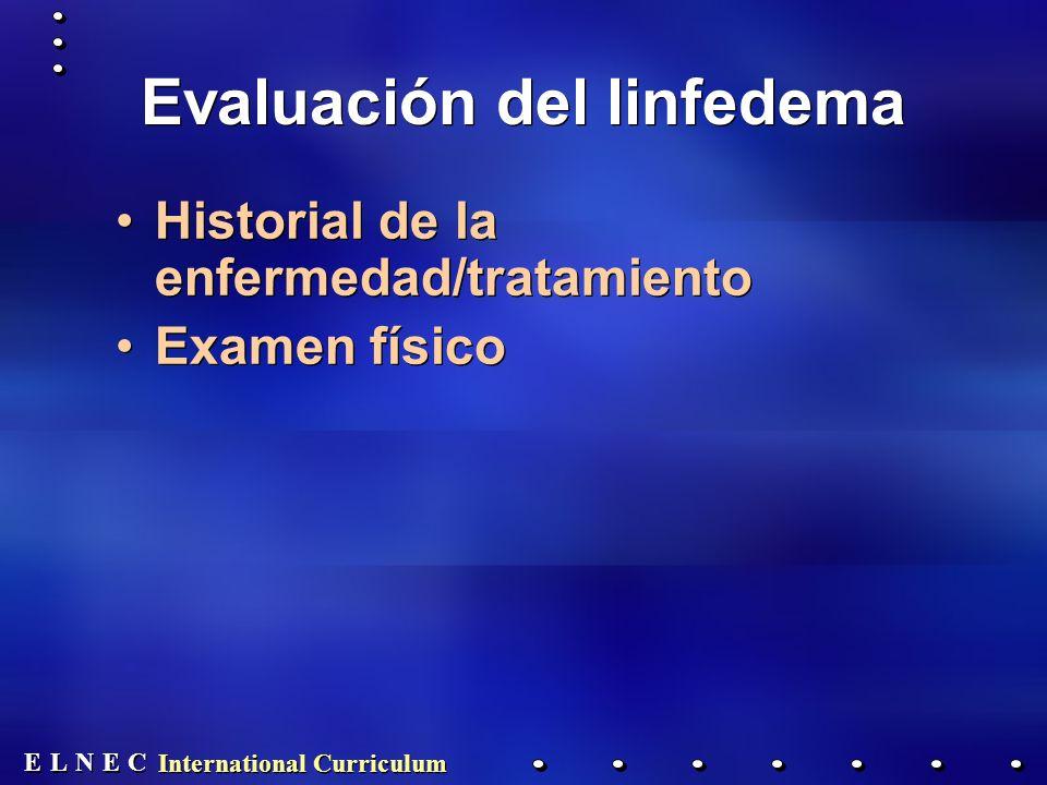 E E N N E E C C L L International Curriculum Evaluación del linfedema Historial de la enfermedad/tratamiento Examen físico Historial de la enfermedad/tratamiento Examen físico