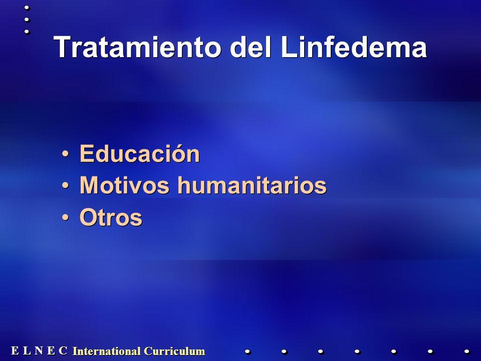 E E N N E E C C L L International Curriculum Tratamiento del Linfedema Educación Motivos humanitarios Otros Educación Motivos humanitarios Otros