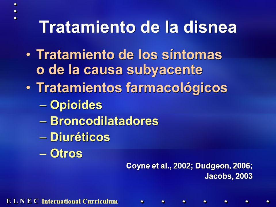 E E N N E E C C L L International Curriculum Tratamiento de la disnea Tratamiento de los síntomas o de la causa subyacente Tratamientos farmacológicos –Opioides –Broncodilatadores –Diuréticos –Otros Coyne et al., 2002; Dudgeon, 2006; Jacobs, 2003 Tratamiento de los síntomas o de la causa subyacente Tratamientos farmacológicos –Opioides –Broncodilatadores –Diuréticos –Otros Coyne et al., 2002; Dudgeon, 2006; Jacobs, 2003