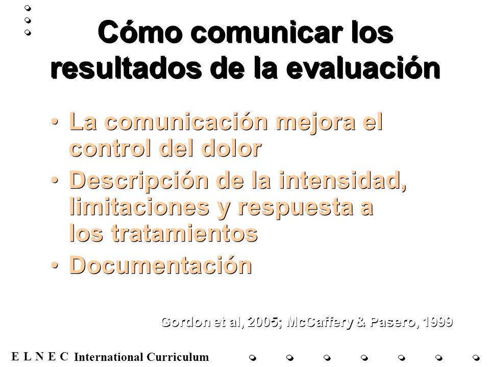 ENECL International Curriculum Cómo comunicar los resultados de la evaluación La comunicación mejora el control del dolor Descripción de la intensidad
